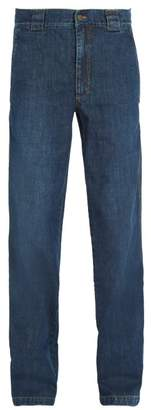 Lanvin Washed Straight Leg Jeans - Mens - Navy