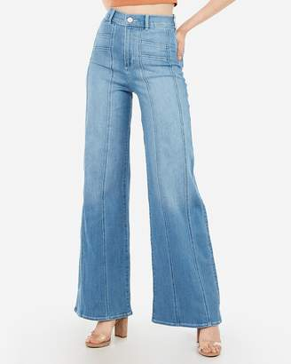 Express Super High Waisted Seamed Wide Leg Jeans