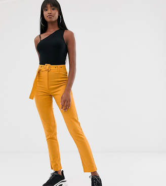Missguided Tall belted linen pant in mustard