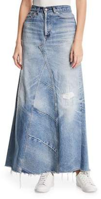 Elizabeth and James Vintage One-of-a-Kind Denim Maxi Skirt