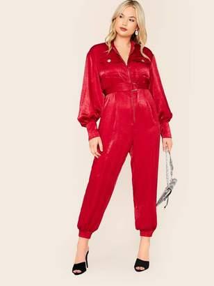 Shein Plus Zipper Front Flap Pocket Satin Jumpsuit With D-ring Belt