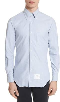 Thom Browne Extra Trim Fit Oxford Shirt with Grosgrain Trim