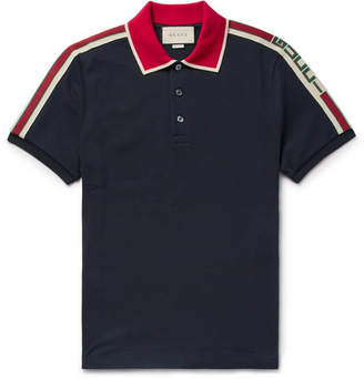 Gucci Webbing-Trimmed Stretch-Cotton Piqué Polo Shirt