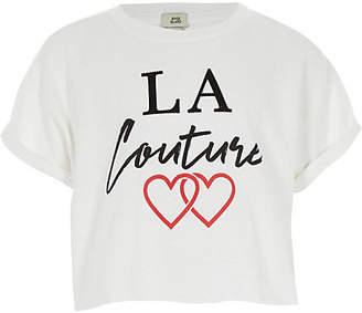 River Island Girls White 'La Couture' cropped T-shirt