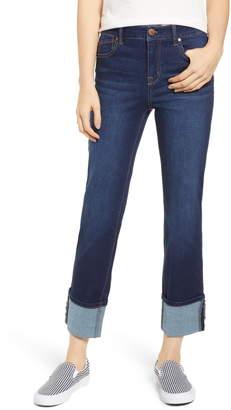 1822 Denim Cuffed High Waist Ankle Straight Leg Jeans