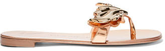Giuseppe Zanotti - Embellished Metallic Patent-leather Sandals - IT35.5 $700 thestylecure.com