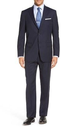 Men's Hart Schaffner Marx 'New York' Classic Fit Stripe Wool Suit $695 thestylecure.com