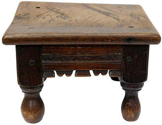 One Kings Lane Vintage 18th-C. Hand-Carved Footstool - Rose Victoria