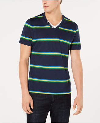 INC International Concepts I.n.c. Men Striped V-Neck T-Shirt