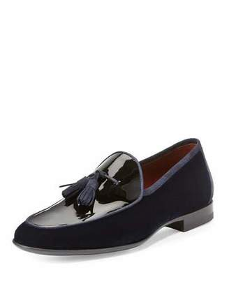 Magnanni for Neiman Marcus Velvet & Patent Leather Tassel Loafer, Navy $425 thestylecure.com
