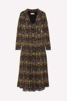 Chloé Pleated Printed Georgette Midi Dress - Black