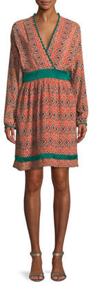 Talitha Collection Almasi-Print Short Kimono Dress with Pompom