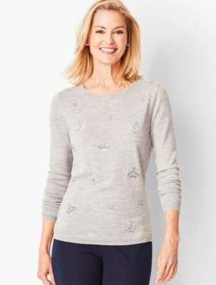 Talbots Embroidered & Beaded Merino Sweater