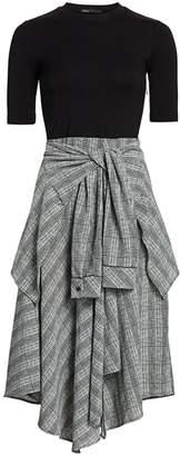 Maje Rapri Mixed-Media Plaid Midi Dress