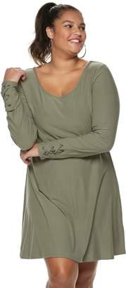 b5118df921c95 ... Mudd Juniors  Plus Size Lace-Up Sleeve Dress