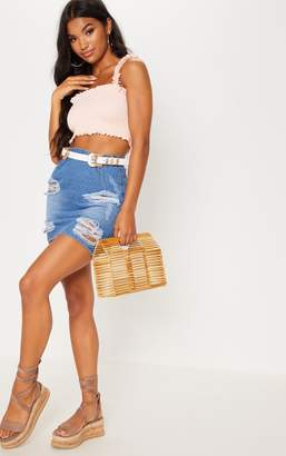 PrettyLittleThing Light Pink Shirred Frill Crop Top