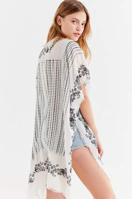 Urban Outfitters Border Printed Striped Kimono