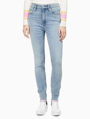 Calvin Klein skinny high rise striped ankle jeans