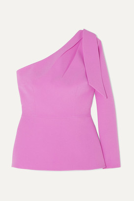 Safiyaa Rosita One-shoulder Stretch-crepe Peplum Top - Pink
