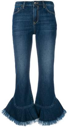 Pinko flared fringe cuffed jeans