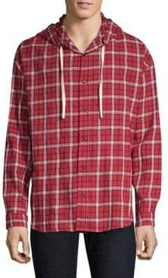 The Kooples Cotton Check Hooded Shirt