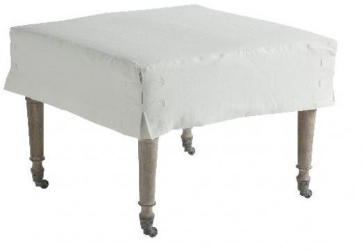 Alfreda Ottoman Soft White Slipcover Medium by Aidan Gray