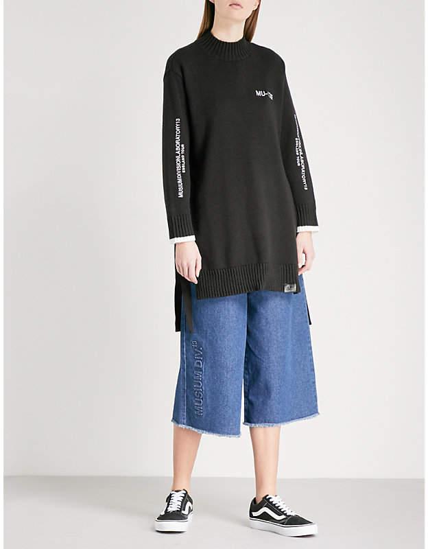 Musium Logo-embroidered side-split cotton-blend jumper