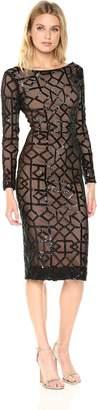 Dress the Population Women's Mila Long Sleeve Sequin Dress, Black/Nude, L