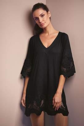 Fantasie Womens Black Dione Crochet Trim Tunic Cover Up - Black