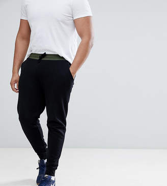 Asos DESIGN Plus Skinny Joggers With Contrast Wasitband In Khaki