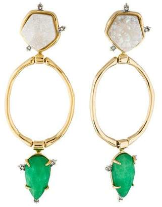 Alexis Bittar Druzy Stone Post Link Drop Earrings