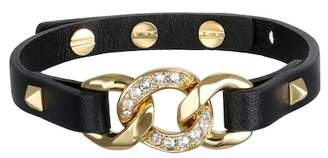 Karl Lagerfeld Gold Plated Swarovski Crystal Accented Chain Charm Leather Bracelet