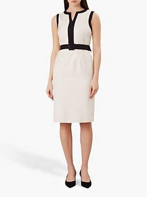 Hobbs Alison Tailored Cotton Dress, Neutral/Black