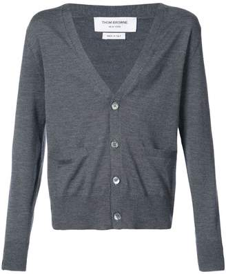 Thom Browne V-neck Cardigan In Medium Grey Mercerized Merino