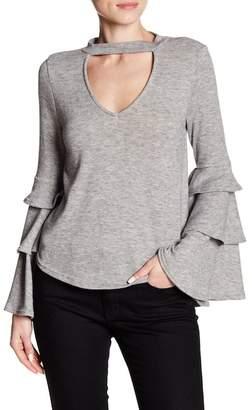 Dee Elly Ruffle Sleeve Choker Sweater