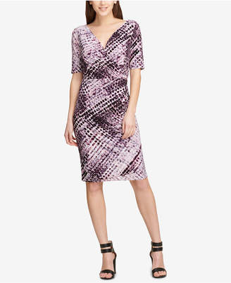 DKNY Printed Ruched Sheath Dress