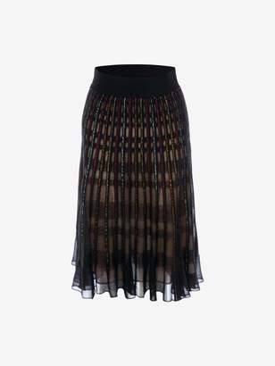 Alexander McQueen Metallic Check Knit Skirt
