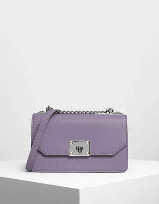 Charles & Keith Classic Front Flap Crossbody Bag