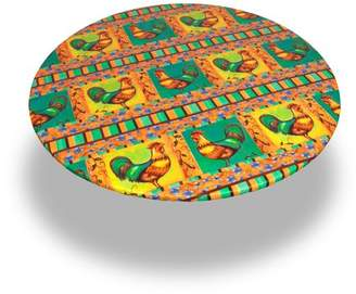 """Carnation Home Fashions Rooster"""" 60 Inch Round Fitted Vinyl Tablecloth"""