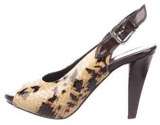 Donald J Pliner Embossed Leather Peep-Toe Slingback Sandals