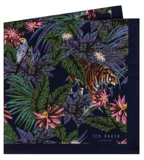 Ted Baker Jungle Print Wool Pocket Square