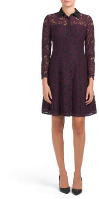 Lace Shirt Dress With Contrast Collar