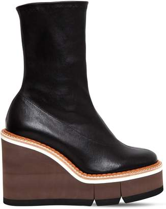 Clergerie 110mm Britt Stretch Leather Wedged Boots