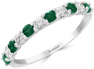 Effy Brasilica 14K White Gold Emerald and 0.29K Diamond Ring