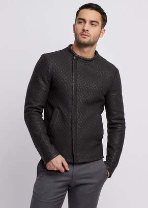 Emporio Armani Laser-Cut, Garment Washed Nappa Leather Jacket With 3D Effect