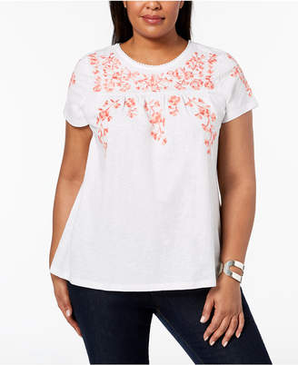 da2749798ede7c Charter Club Plus Size Cotton Embroidered Peasant T-Shirt