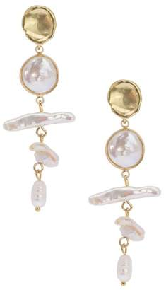 Saachi Bezel Set 10mm Baroque Pearl Drop Earrings