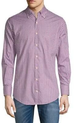 Peter Millar Adams Checkered Long-Sleeve Shirt