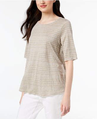 Eileen Fisher Organic Linen Striped Top, Regular & Petite