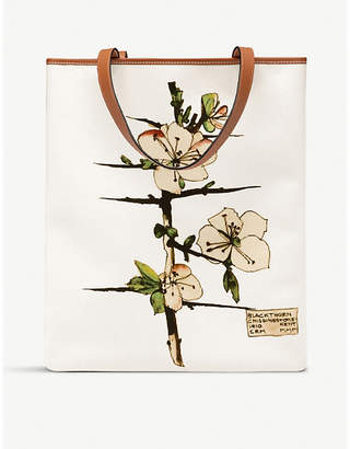 Loewe Vertical Blackthorn canvas and leather tote bag